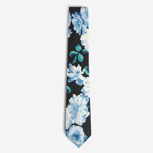 NEW! Blue Narrow Watercolor Floral Tie